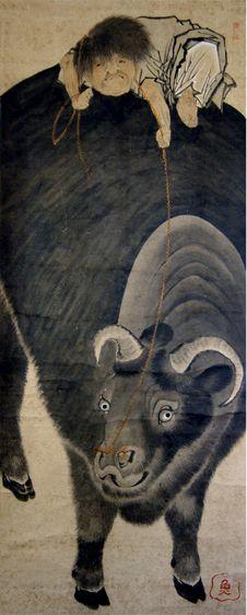 長沢芦雪 筆「牛と牧童の図」