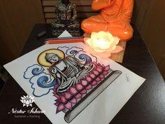 Título: Budha en loto Técnica:  estilógrafos y lápices de colores Tamaño: 22.9 x 30 cm Material: Papel blanco