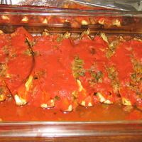 Eggplant stuffed with tomato and garlic