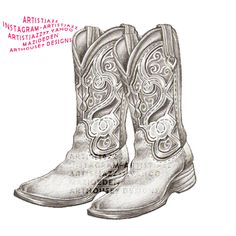 Cute country girl tattoo cowboy boots original sketched in pencil by the artist jasmine mills. available tattoo linework via etsy! only 1.99 download! leather embroidered cowgirl boots. Southern girls tat. cute tattoo ideas for girls