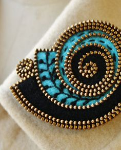 Felt and zipper abstract brooch by woollyfabulous on Etsy