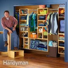 Organize your closets and store everything neatly with this easy-to-build, yet handsome, box system. You can easily customize it to clear up the clutter in your home office too.  Complexity: Moderate.  Cost: $100 to $500.