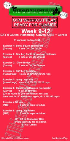 3 Month Women Workout Plan Week 9-12 Day 5:Glutes, Hamstrings, Calves, Abs and Cardio. FREE Printable workout template to have it always with you!!! #fitness #printableworkouts #gymworkouts #ultimateworkoutplans #kostaspap
