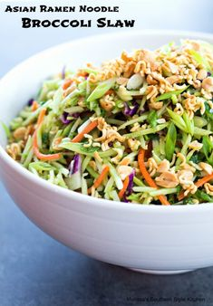 Asian Ramen Noodle Broccoli Slaw - This Asian inspired broccoli slaw is an amazing dish to make when you're in the mood to shake things up a little. You know what I mean, in those moments