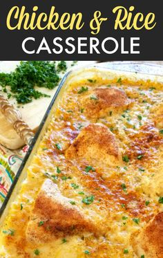 An easy casserole recipe for creamy rice and fork-tend Chicken & Rice Casserole! An easy casserole recipe for creamy rice and fork-tend. An easy casserole recipe for creamy rice and fork-tend. Creamy Chicken And Rice, Creamy Rice, Chicken And Rice Dishes, Cream Of Mushroom Chicken, Chicken And Brown Rice, Healthy Recipes, Cooking Recipes, Diner Recipes, Lunch Recipes