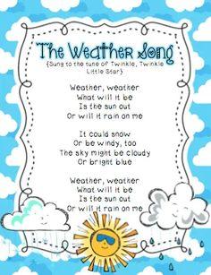 "Weather Song (Tune: ""Twinkle, Twinkle, Little Star"") Other Activities Kindergarten Songs, Preschool Music, Preschool Classroom, Preschool Activities, Weather Lesson Plans, Weather Lessons, Songs For Toddlers, Kids Songs, Fun Songs"