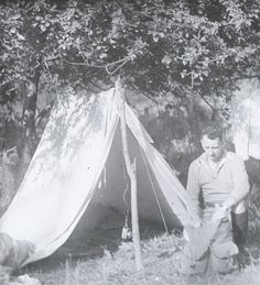 Classic A-shape tent of the 1920s. Love the lightweight poles.