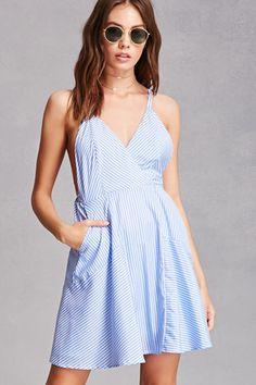 Striped Surplice Cami Dress