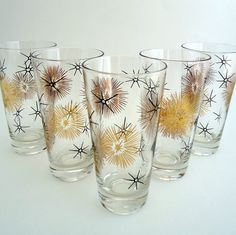 5 Black and Gold  Atomic Starburst Tumblers Federal Glass. $40.00, via Etsy.