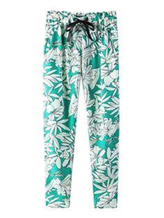Women Casual Elastic Waist Printed Green Loose Pant