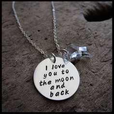 I Love You To The Moon and Back Hand Stamped Sterling Necklace   WordsToWear - Jewelry on ArtFire