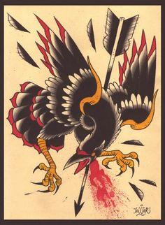 Traditional crow tattoo art design ideas 24