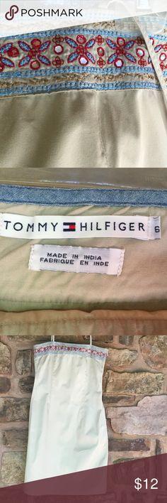 Tommy Hilfiger Spaghetti Strap Embroidered Dress 100% Cotton, Side Zip Closure, Tommy Hilfiger Dresses Mini