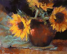 Barbara Jaenicke - Sunflower Trio- Pastel - Painting entry - October 2013   BoldBrush Painting Competition