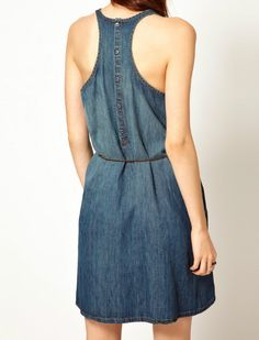 ++ Navy Sleeveless Drawstring Waist Denim Tank Dress