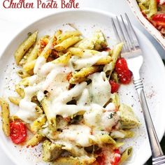 Spinach Pesto Chicken Pasta Bake