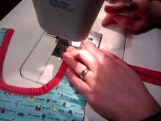 Sewing bias taping on curves.