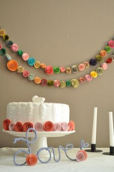 Colorful Paper Flower Garland Shower garland by lillesyster, $40.00