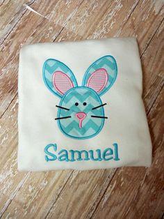 Boys Easter Bunny Shirt,Boys T shirt or Bodysuit, Appliqué Embroidered