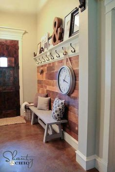 Goodall Goodall Ortega Plank Wall DIY Entryway, this would be awesome by the garage door! - A Interior Design Mur Diy, Diy Casa, Plank Walls, Wood Walls, Entryway Decor, Entryway Ideas, Door Entryway, Garage Entry, Entry Foyer