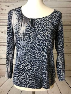 a37e25b980f Chico s Travelers Women s Stretch Blouse Shirt 0 XS animal print cheetah  Chicos  Chicos  Blouse  Casual