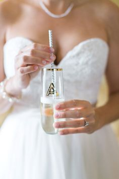 Sipping champagne from a monogrammed glass by ModParty, Etsy.Com. Photo by Mon Petit Studio.