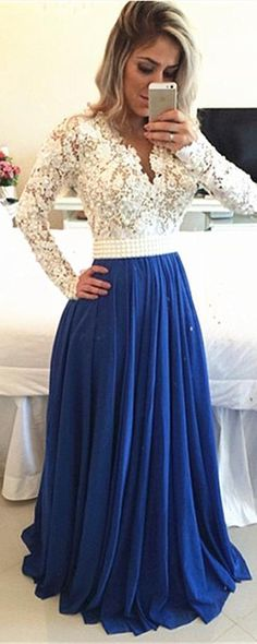 Long Sleeves Lace A-line Royal Blue Chiffon Beaded Prom Dresses #royalblue #longsleeve #promdress #evening #formal #white #lace