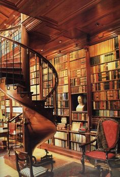 I want a spiral staircase and a library in my house! So perfect!