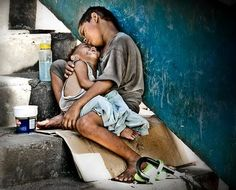 Children  , hug, sleeping , without love, poor, poverty