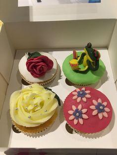 Cupcakes  Kikker, roosje, bloemetjes