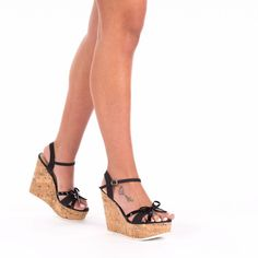Features Bow Details Heel type Wedge Style Peep-toes Event Casual Summer Fashion Heel height 5 3 Inches Color Black Material Synthetic Leather