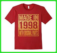 Mens Made in 1998 with Original Parts Shirt 19th birthday 2XL Cranberry - Birthday shirts (*Amazon Partner-Link)