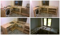 After refurbish, remain slight amount of money for furniture. I'm still glad for that as it gives me the opportunity to make my kitchen with pallets, a cheap material!      #Kitchen, #PalletFurniture, #RecycledPallet
