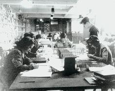 Code-breaking personnel in Hut 3 Bletchley Park, Buckinghamshire, 1942.