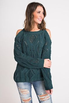 a27917c3ee53c1 Bradley Cold Shoulder Sweater (Forest Green)