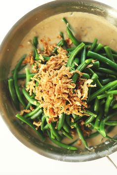 Easy, 30-minute vegan green bean casserole made with just 10 ingredients! Completely vegan, super creamy, and delicious.