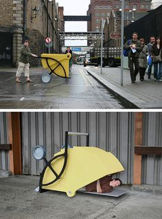 [homeless + shelter + cart]  This Shelter cart is to design a tool for a particular group of homeless people who collect bottles froom the streets so they can collect a small income from the recycling plants in order to sustain themselves. The product is not seen a solution to the social problem of the homeless but instead as an method of raising awareness about the issue. Great idea! It also provide a place that the homeless people can sleep or seat in this cart.