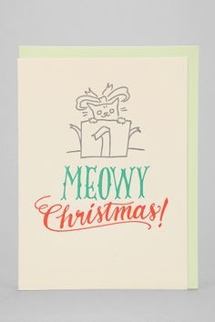 Ladyfingers Letterpress Meowy Holiday Card - Urban Outfitters