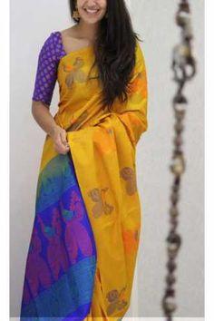 Unique Yellow Color Soft Silk Saree - cnd1153 Jute Silk Saree, Silk Saree Kanchipuram, Bridal Silk Saree, Tussar Silk Saree, Simple Sarees, Trendy Sarees, Fancy Sarees, Indian Silk Sarees, Soft Silk Sarees