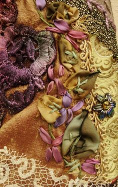 Wonderful Ribbon Embroidery Flowers by Hand Ideas. Enchanting Ribbon Embroidery Flowers by Hand Ideas. Silk Ribbon Embroidery, Embroidery Stitches, Embroidery Designs, Creative Embroidery, Embroidery Thread, Crazy Patchwork, Crazy Quilting, Ribbon Art, Ribbon Flower