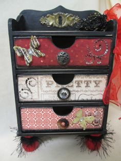 Paris Red And Black Jewelry Trinket Treasure Chest Of Drawers Dresser Wooden Box…