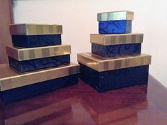 Gift Boxes Collection of Six  Varied Sizes with Lids