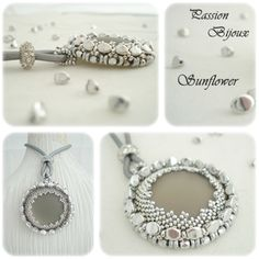 *P Beading Tutorial Pendant & Ring SUNFLOWER step by step with pictures