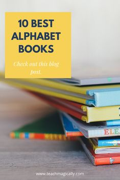 """This blog post has 10 of the best alphabet books to help make learning the alphabet easy and fun. There are links to purchase the books and YouTube video links so you can see the books or use them to """"show"""" the books to the class. I also use them for homework and literacy centers. #kindergarten #literacy #literacycenters"""