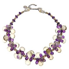 Amethyst, Lemon Quartz, Gold and Silver Necklace at 1stdibs