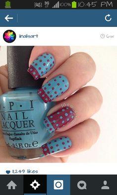 Blue & purple polka dots