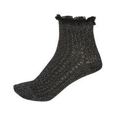 River Island Black sparkly ankle socks ($8) ❤ liked on Polyvore featuring intimates, hosiery, socks, accessories, black, tights / socks, women, black short socks, frilly socks and black socks