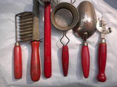 vintage kitchen utensils, red wooden handles, instant vintage kitchen decor collection. $32.00, via Etsy.