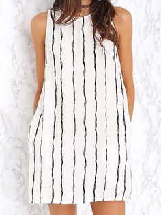 White, Stripe, Keyhole Back, Pocket, A-line Dress