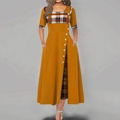 New Arrival Women Fashion Casual Irregular Plaid Print Button Maxi Dress Half Sleeve Round Neck Plus Size Party Dress Xmas Dresses, Cute Dresses, Evening Dresses, Casual Dresses, Christmas Dresses, Half Sleeve Dresses, Maxi Dress With Sleeves, The Dress, Dress Outfits